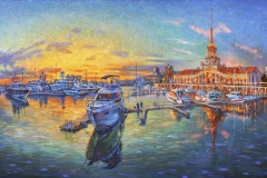 Artwork. Evening at the seaport. Author: Nikolay Sivenkov.