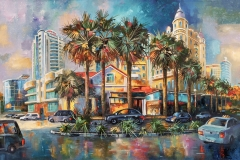 Street after rain. Architectural landscape of the beloved city of Sochi. Painting: canvas, oil.